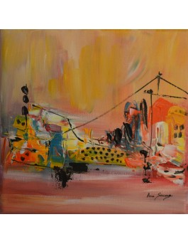 tableau abstrait jaune orange bleu
