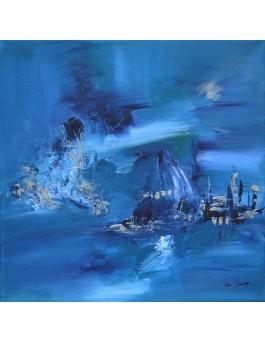 Sur l'île de glace - tableau contemporain bleu et argent
