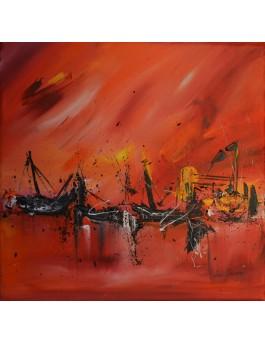 tableau abstrait rouge bateaux