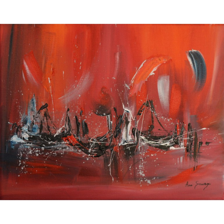 peinture marine rouge noir