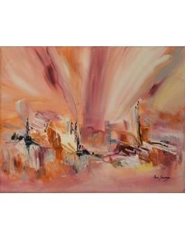 Plaisir délicieux - tableau abstrait marron rose