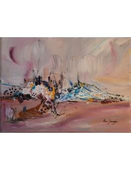 Le volcan chantilly - tableau abstrait marron bleu