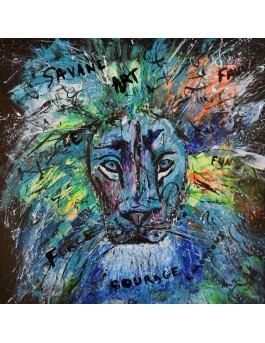 Le lion artiste 2 - tableau abstrait lion coloré