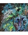 tableau abstrait lion coloré
