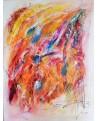 grand tableau abstrait multicolore coloré