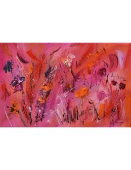 Fleurs magenta - tableau abstrait fleurs