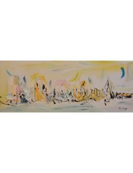 tableau abstrait jaune et bleu panoramique
