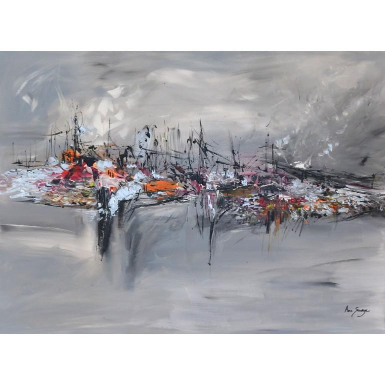 tableau abstrait gris orange noir blanc
