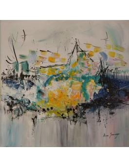 Le lac citron - tableau abstrait gris jaune bleu au couteau