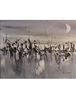Le temps s'arrête - petit tableau abstrait gris violet