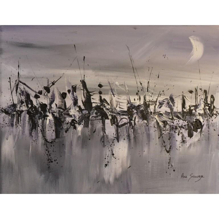 petit tableau abstrait gris violet