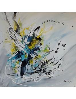 tableau abstrait blanc bleu jaune