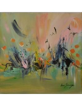 Le pic aux oiseaux - tableau abstrait vert rose