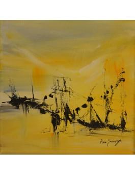 tableau abstrait jaune et noir