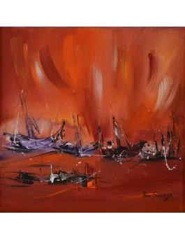 Le bateau pourpre - tableau abstrait rouge violet
