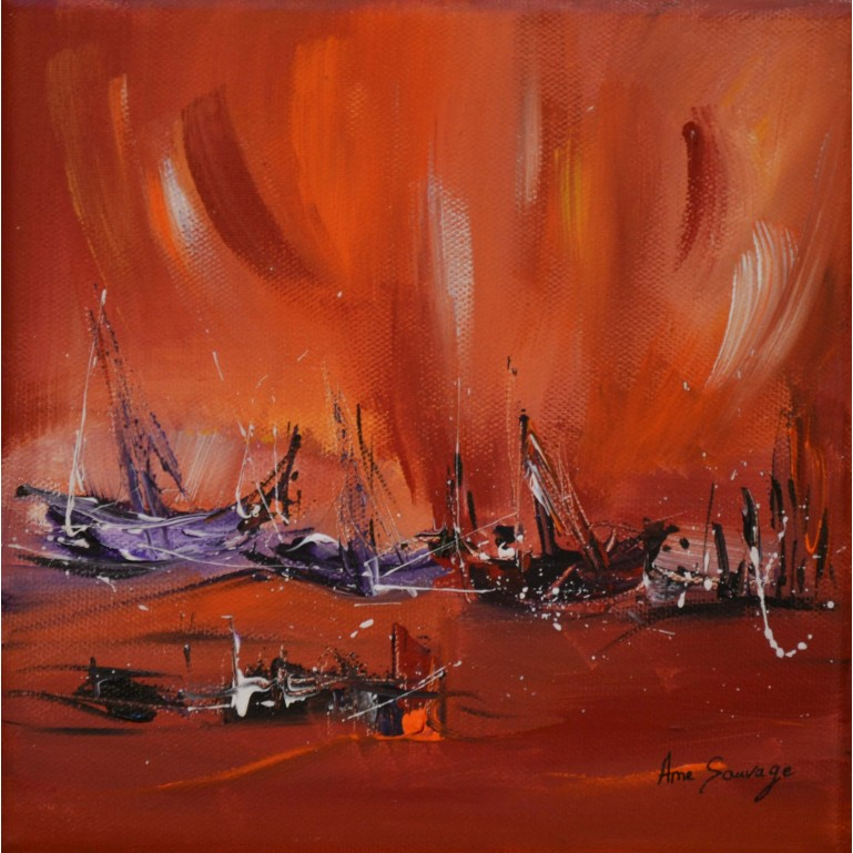 tableau abstrait rouge violet