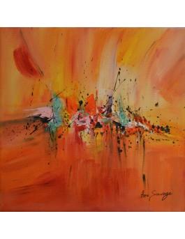 peinture abstraite orange