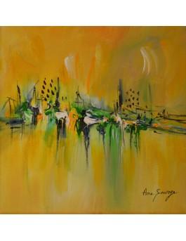 tableau abstrait jaune vert
