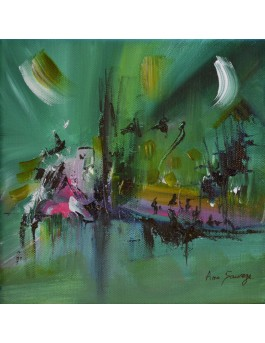 Le monde des profondeurs - tableau abstrait vert