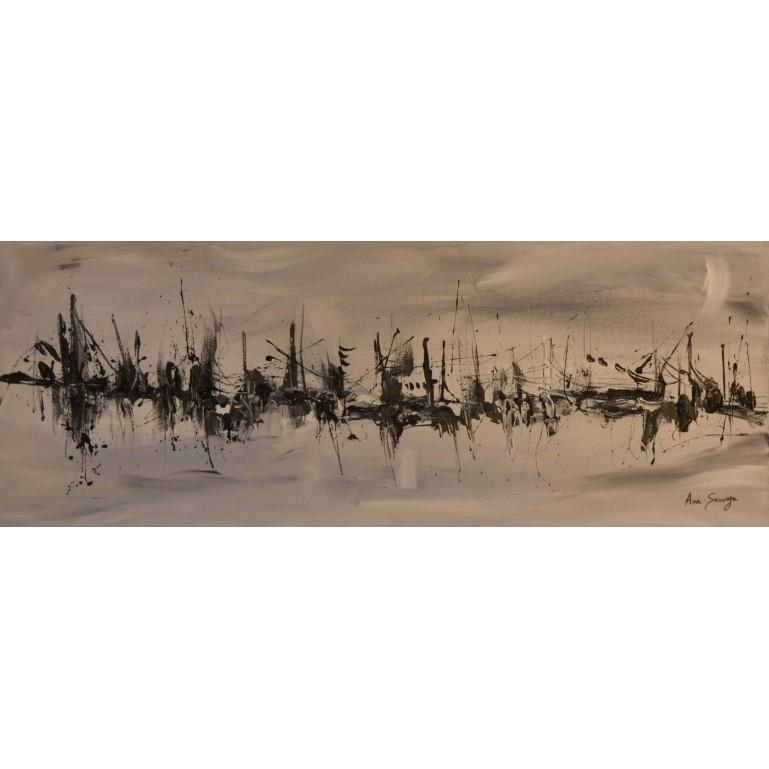 tableau abstrait gris noir blanc panoramique