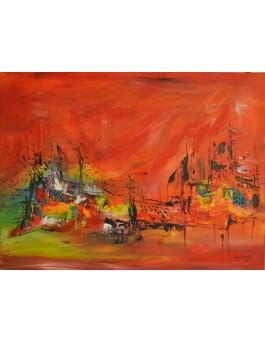 Été au soleil intense - tableau abstrait rouge