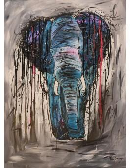 L'éléphant bleu - tableau peinture éléphant moderne