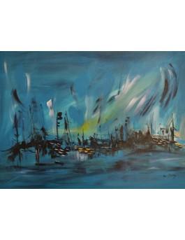 La beauté de la nuit - tableau abstrait moderne bleu