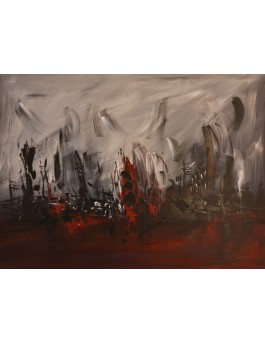 Dans les profondeurs - tableau abstrait rouge noir gris