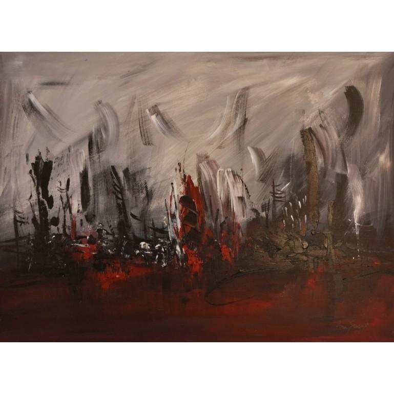tableau abstrait rouge noir gris