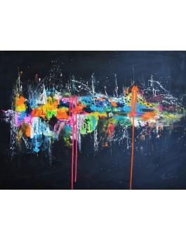 Imagine en couleurs - tableau abstrait flashy couleurs vives sur fond noir