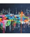 tableau abstrait flashy couleurs vives sur fond noir