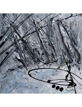 tableau abstrait voiliers gris noir blanc argent