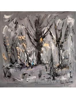 Arbres en hiver - tableau gris et blanc