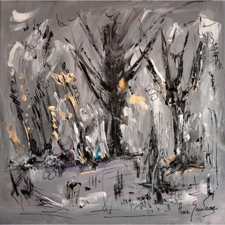 Tableau abstrait gris Arbres en hiver