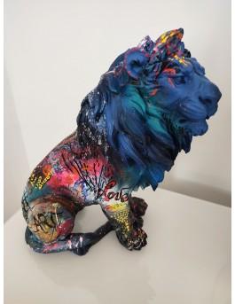 Blue lion - Sculpture contemporaine lion pop art