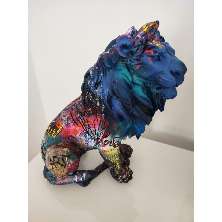 Sculpture contemporaine lion pop art