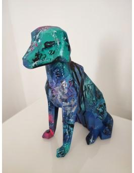 Blue art dog - sculpture contemporaine chien