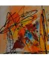 petit tableau abstrait rouge jaune orange