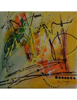 petit tableau abstrait vert et jaune