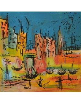 Ville vacances - tableau abstrait coloré