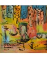 tableau abstrait coloré bateaux