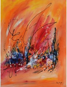 tableau abstrait vertical orange
