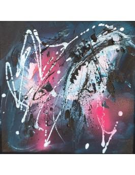 Nuit noire - tableau abstrait noir et rose design