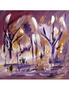 peinture abstraite nature début de printemps