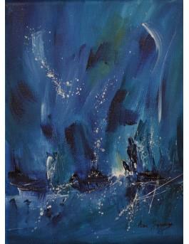 Sous une pluie d'étoiles - petit tableau abstrait bleu