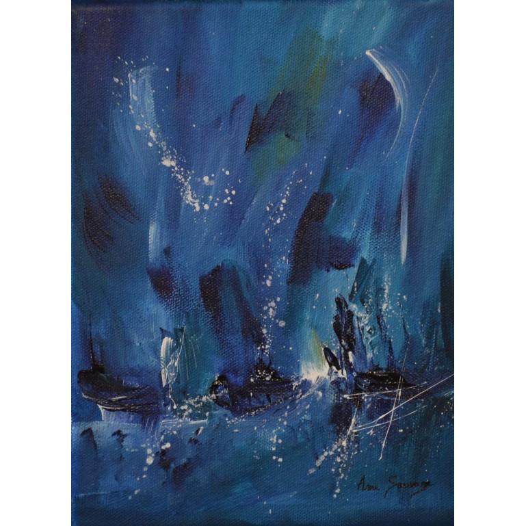 petit tableau abstrait bleu
