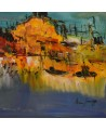 tableau abstrait jaune bleu