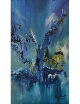 L'homme en noir - tableau abstrait bleu vertical