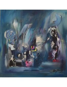 Le trône des neiges - petit tableau abstrait bleu