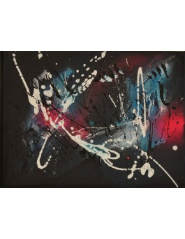 tableau abstrait noir rose flashy